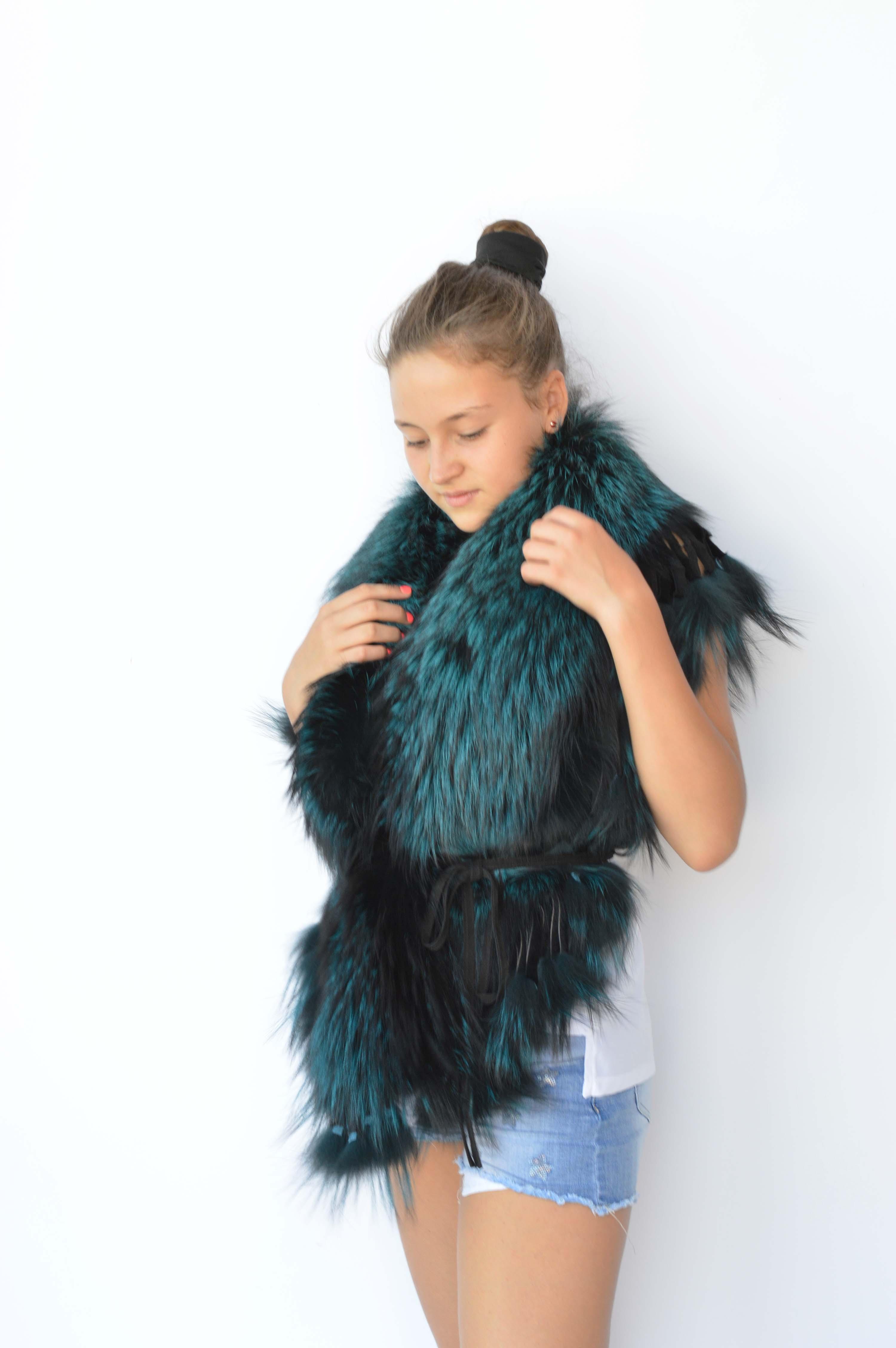 Scaldacuore in pelliccia di volpe verde