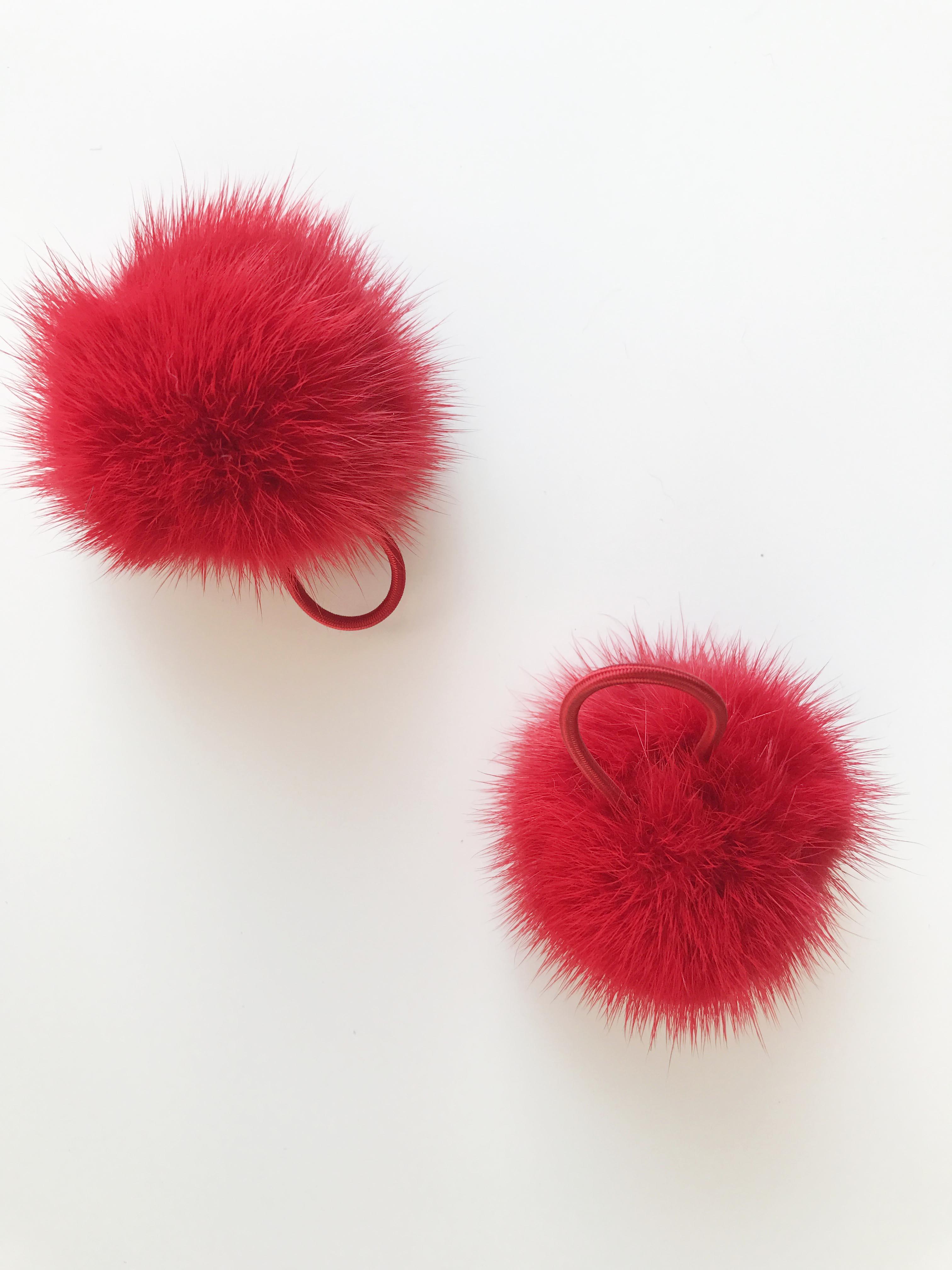 Pom Pom pelliccia di visone rosso