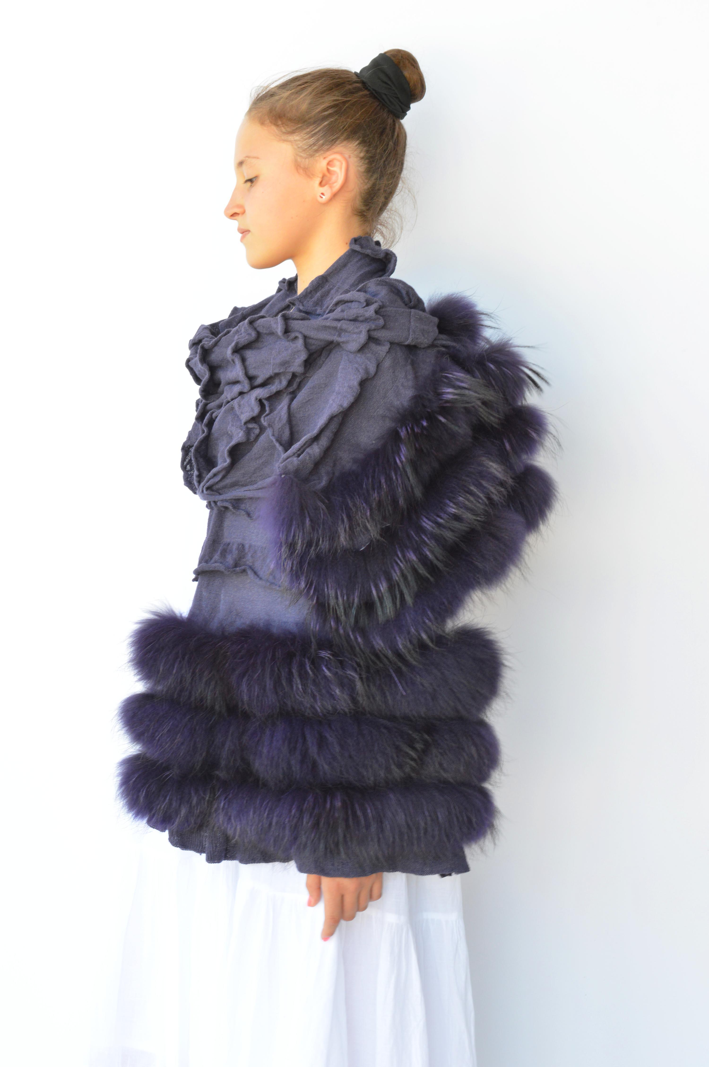 Sciarpa pelliccia di volpe argentata e cachemire