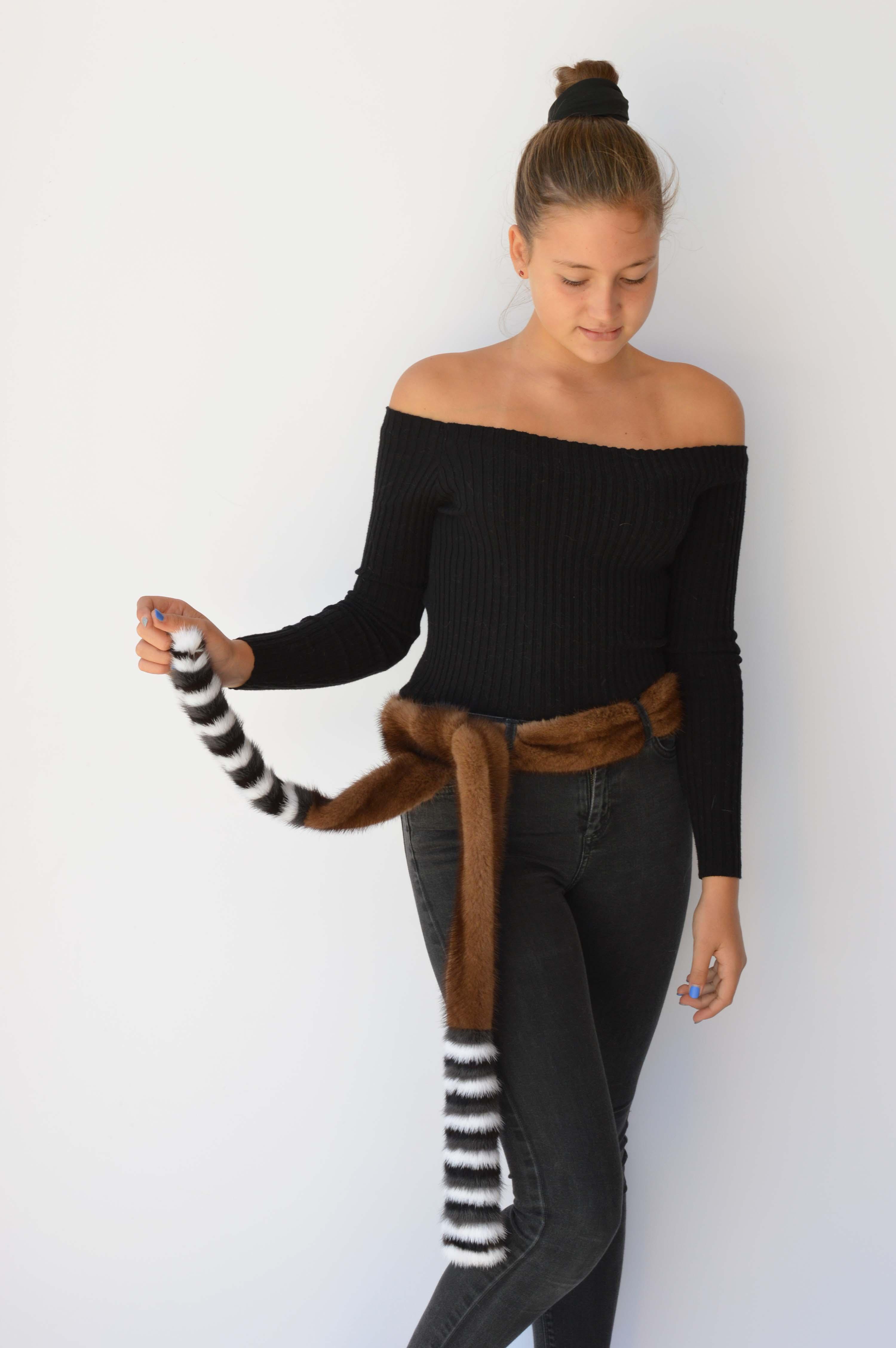 Cintura visone demi buff con righe colorate