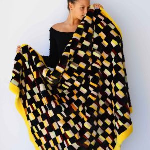 coperta patchwork visone colorato