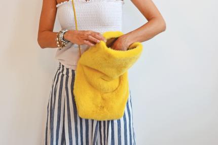 borsa sacchetto pelliccia
