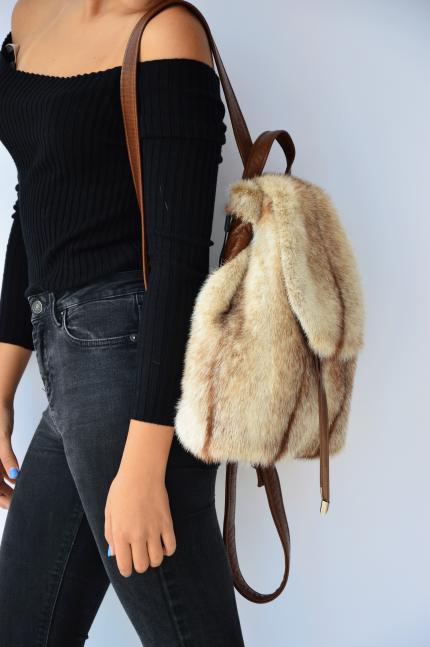 zaino borsa in pelliccia di visone