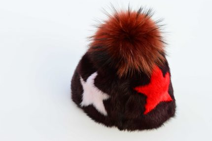 Cappello in visone intarsiato