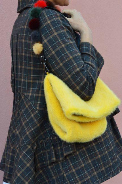 Tracolla borsa di pelliccia