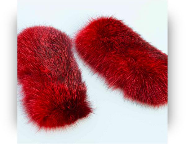Polsi volpe con meccanismo Clic Clac di pelliccia colore rosso