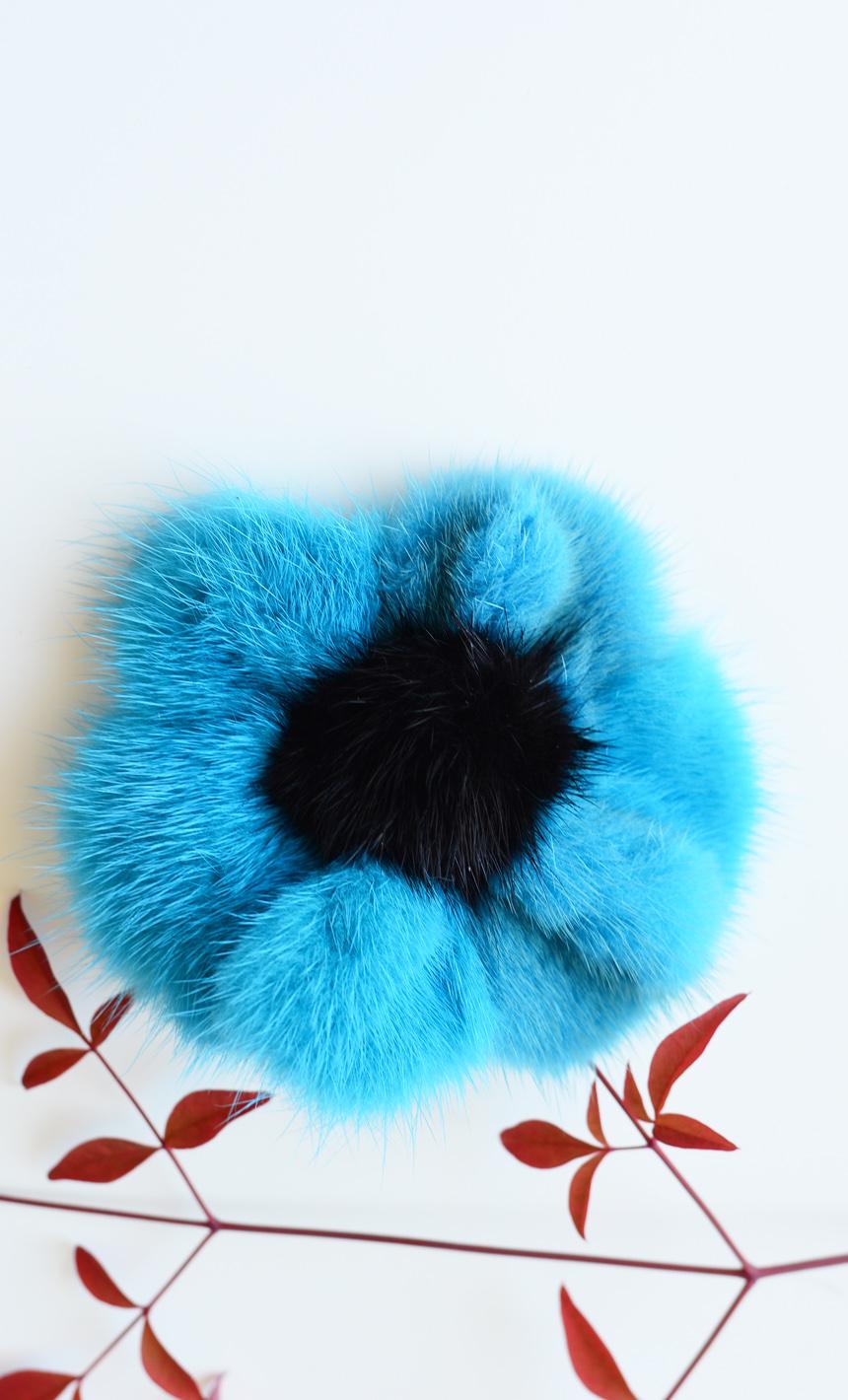 Accessorio per coda capelli in visone a forma di fiore