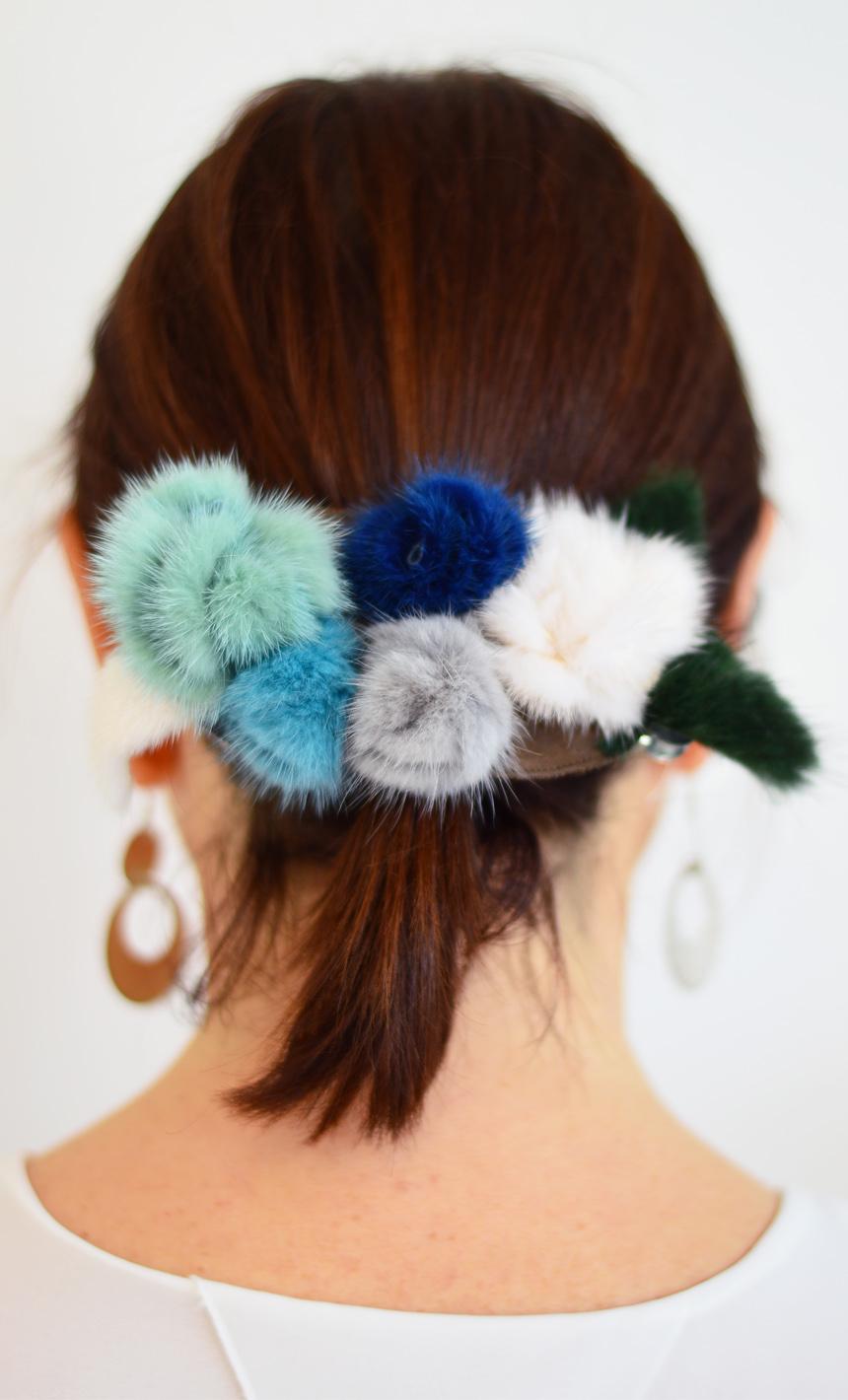 Elastici per capelli con gancio in pelliccia colorata